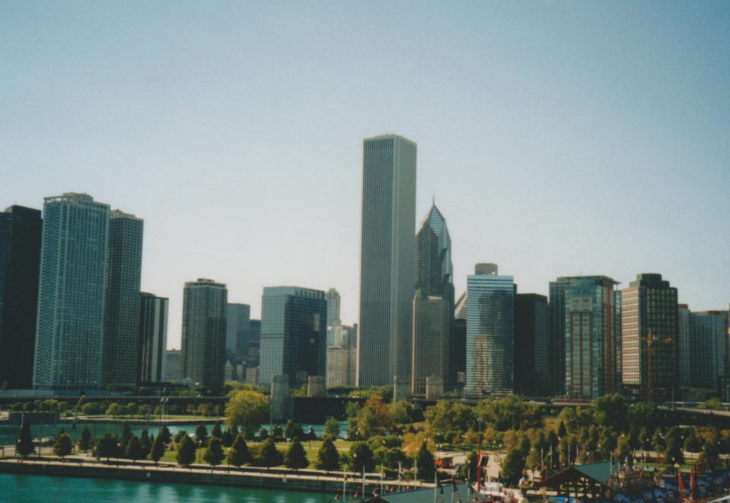 View of the skyline from the top of the ferris wheel on Navy Pier