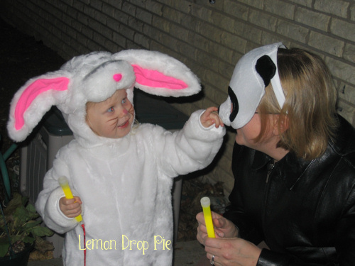 Lily in her bunny costume and me with a mask