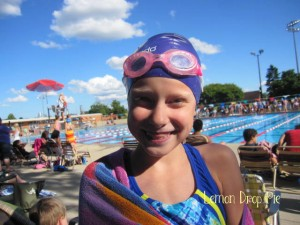 Lily at a swim meet last year.